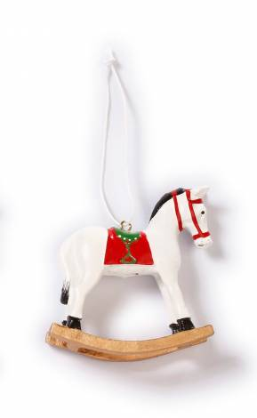 Hvid gyngehest juletræs pynt