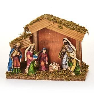 Julekrybbe med 6 figurer