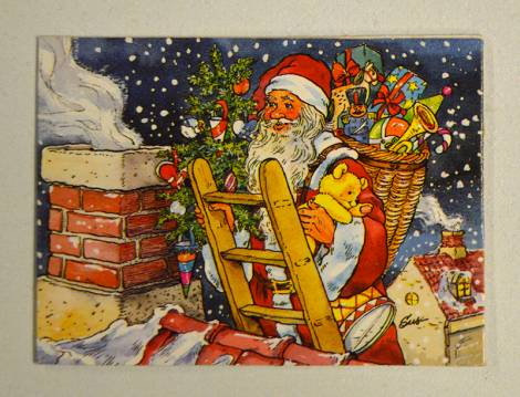 Julemand dobbelt til og fra kort