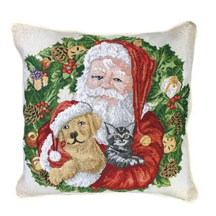 Julemand med dyr pude 42 x 42 cm