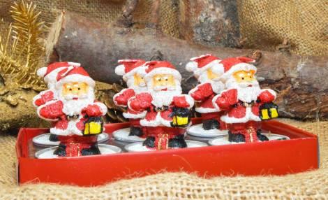 Julemands fyrfadslys med sæk og lampe