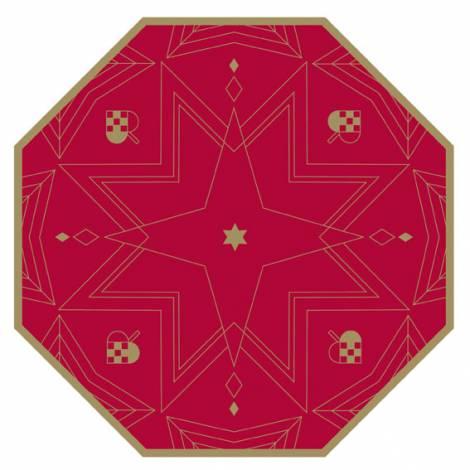 Juletræstæppe rød med stjerner