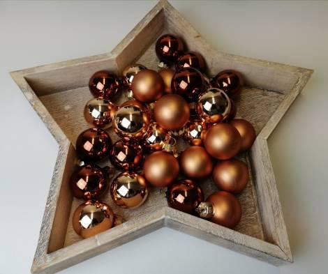Kobber silkematte og blanke juletræskugler Ø 4 cm