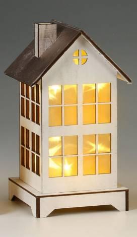 Led hus med funklende stjerner 26 cm