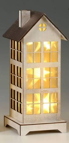 Led hus med funklende stjerner 33.5 cm