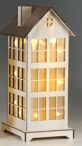 Led hus med smukke stjerner 43 cm