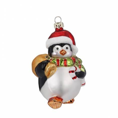 Lille buttet pingvin med gavesæk og sukkerstok 10.5 cm