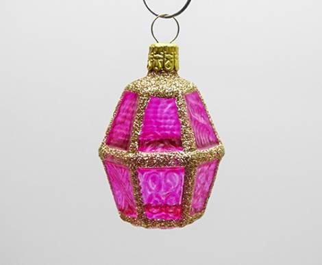 Pink buttet lanterne juletræskugle med glas vinduer