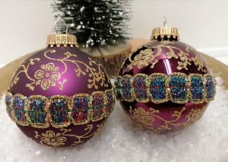 Purple rain glas juletræskugler Ø 7 cm