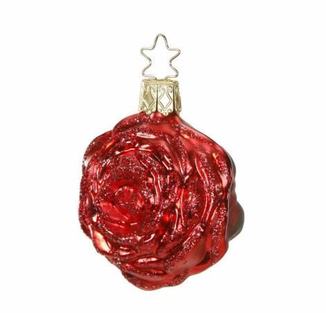Rød glimmer rose juletræskugle Ø 6 cm