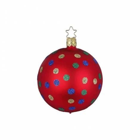 Rød silkemat juletræskugle med prikker