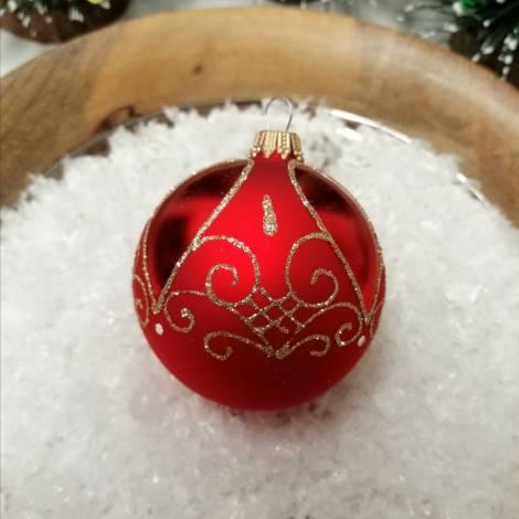 Røde silkematte juletræskugler med guld rokoko Ø 7 cm