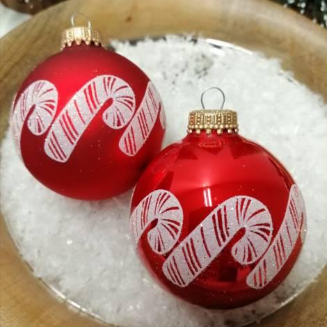 Røde silkematte juletræskugler med sukker stok Ø 7 cm