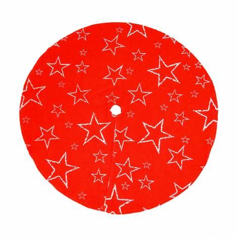 Rød juletræstæppe med sølv stjerner