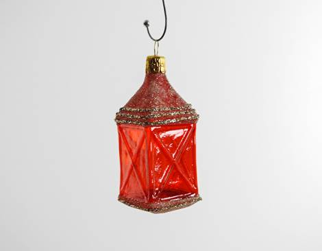 Rød lanterne juletræskugle med vinduer
