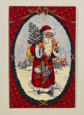 Røde Julemand dobbelt til og fra kort