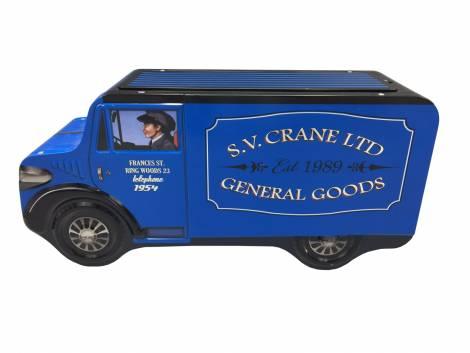 Retro gammeldags blå varebil kagedåse