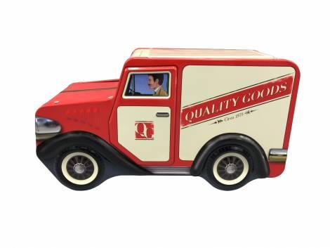 Retro gammeldags varebil i rød og beige kagedåse