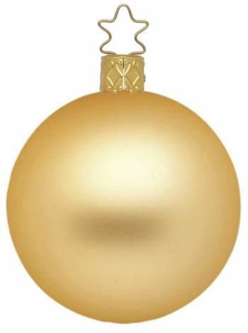 Silkemat guld mundblæst juletræskugle 15 cm