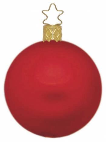 Silkemat rød mundblæst juletræskugle 15 cm