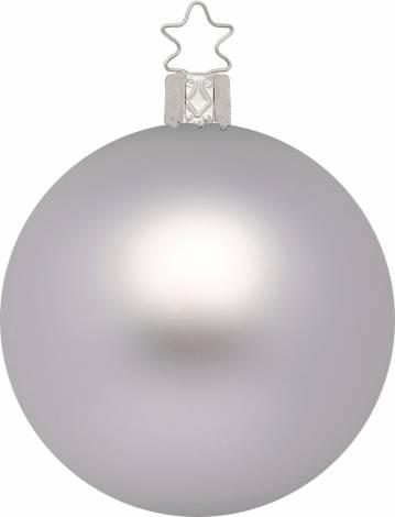 Silkemat sølv mundblæst juletræskugle 15 cm
