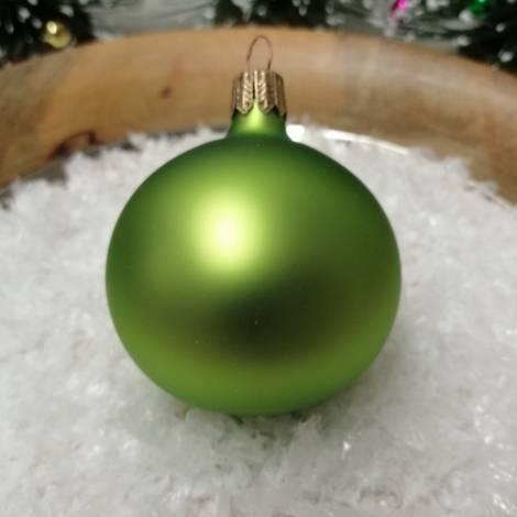 Silkematte limefarvet mundblæste juletræskugler Ø 6 cm