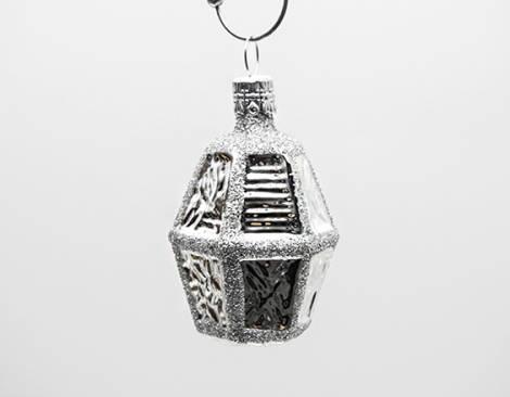 Sølv buttet lanterne juletræskugle med glas vinduer