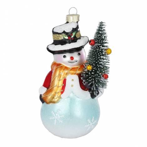 Snemand med juletræ juletræskugle 13 cm