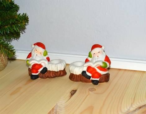Trætte julemænd på stub til almindelig lys
