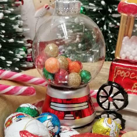 Tyggegummimaskine juletræskugle i mundblæst glas  8 cm