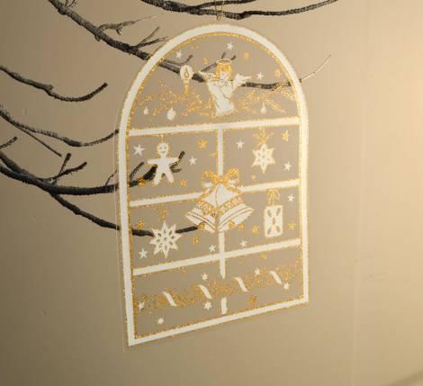 Vindue deko stickers med engle og klokke