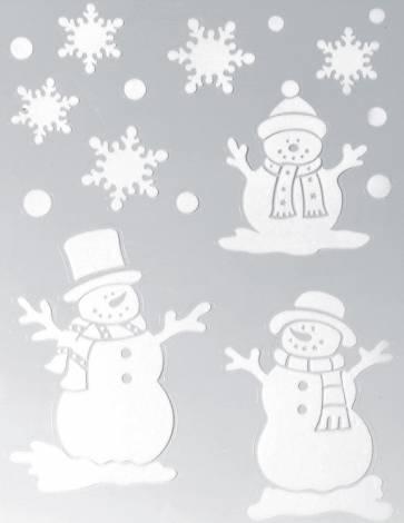 Vindue stickers med 3 snemænd og snefnug