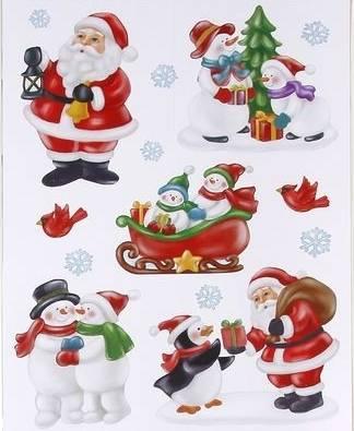 Vindue stickers med julemænd, snemænd og lille pingvin