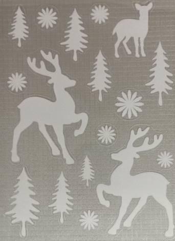 Vindue stickers med rensdyr i sne landskab