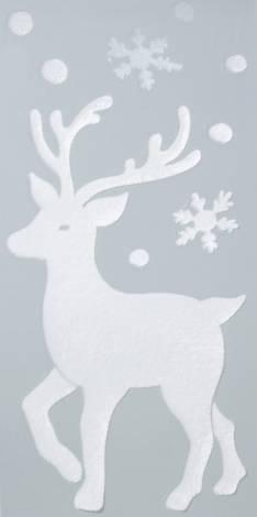 Vindue stickers med rensdyr og snefnug