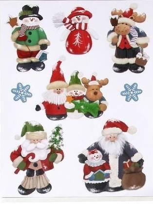 Vindues stickers med julemænd, snemænd og rensdyr.