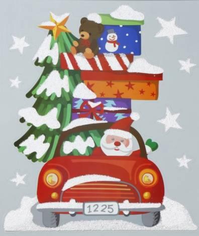 Vindues stickers med julemanden på tur